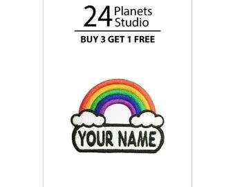 "Mini Rainbow ""Your Name"" Iron on Patch by 24PlanetsStudio"