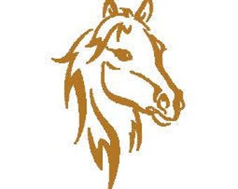 Horse Machine Embroidery Design Pattern File - Fits 4x4 Hoop - MULTIPLE FORMATS- Instant Download