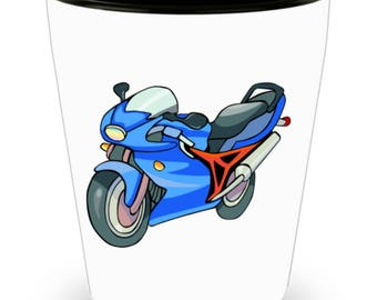 Shot Glass Motorcycle Rider! Biker Accessory, Rider Gift /  Blue and Red Cartoon of Motorcycle for Biker on White Ceramic Shot Glass Gift!