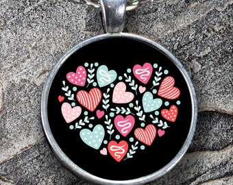 """I LOVE YOU Heart of Hearts Necklace Cool Stylish Personal Valentine's Day Jewelry Pendant! Wear it proudly on 22"""" silver plated necklace!"""
