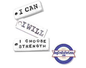 WORD, Inspirational Charms, 3 Phrases, 4, 8, 12 pcs  +FREE SHiPPiNG & Discounts*