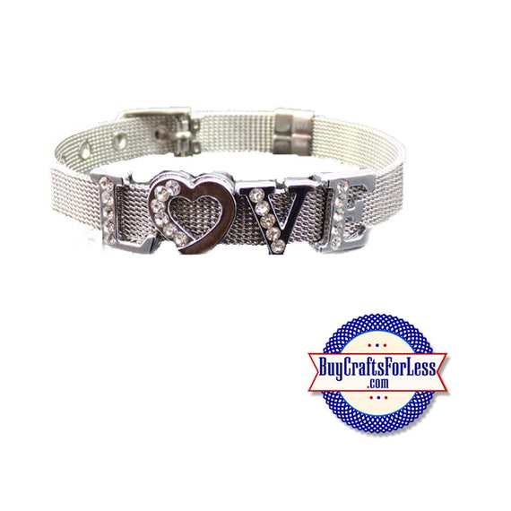 Stainless Steel LOVE BRACELET with 8mm Slider Letters and Charm +FREE Shipping & Discounts*