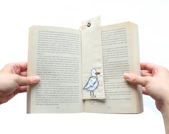 Seagul, Linen Country style Book Mark handmade with ribbon an eyelet