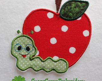 Apple Patch, Apple Worm Patch, Apple Applique, Iron on Patch, Bookworm Patch, Back to School Patch, Patches, Iron on Applique, Fall Patch