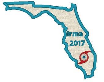 Hurricane Florida, Hurricane Irma, Florida State Applique, Irma Patch, Florida Patch, Irma Applique, Hurricane Patch, Naples Florida