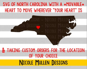DIY Custom North Carolina with Heart SVG, Home Is Where The Heart Is, North Carolina SVG, Cricut, Silhouette cutting file