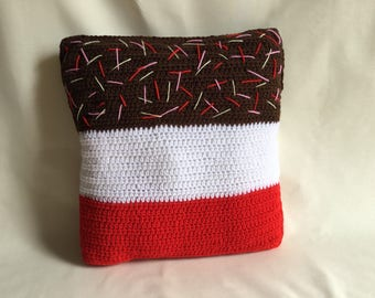 Fab ice cream decorative cushion, hand crocheted