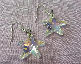 AB Swarovski crystal starfish earrings / Swarovski jewellery / starfish jewellery / animal lover gift