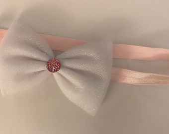 Sparkly Pink and White Headband