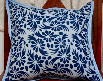 Indigo series E: cover cushion 40x40cm (16 x 16), Indian, geometric, natural indigo dye.