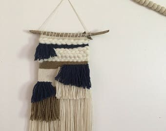 Blue, Brown & Off White Bohemian Hand Woven Wall Hanging on Driftwood