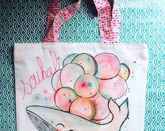tote bag personalized cotton, whale, kawaii