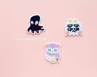 WEIRD IDEAS -- Handmade Embroidered Patch Brooches Pins/Fabric Badge/Iron-On Patches/Animal/Bird/Octopus/Owl