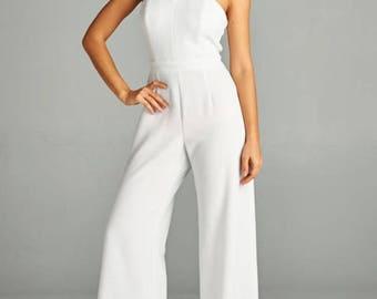 Women's White Double Knit Criss Cross Halter Jumpsuit/Bridal Jumpsuit/Bridesmaid Jumpsuit/Party Jumpsuit/Plus Sizes/Wedding Jumpsuit