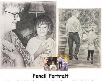 Grandfather Gift, Grandpa Gift, Grandparent Gift, Personalized Portrait, Grandfather Christmas Gift, Godfather Gift, Christmas Gift