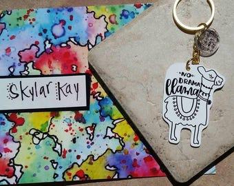 Llama keychain | Shrinky dink keychain | No drama llama