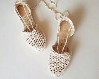Crochet espadrilles, women beige esadrilles, boho sandals, summer sandals, crochet shoes, crochet sandals