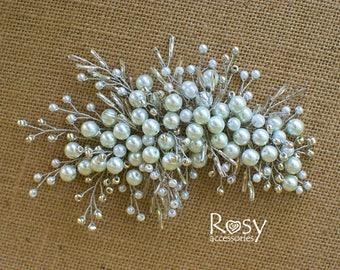 Bridal Hair Accessory, Bridal White Pearl Hairpiece, White Beads Hairpiece, Bridal Hairpiece, Wedding Hair Accessory, Wedding Hairpiece