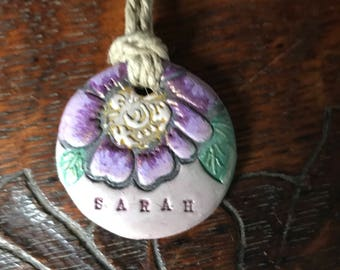 Name Necklace Personalized Polymer Clay Necklace Flower Necklace Bridesmaid's Gift Choose Name Choose Color, Choose Chain or Cord
