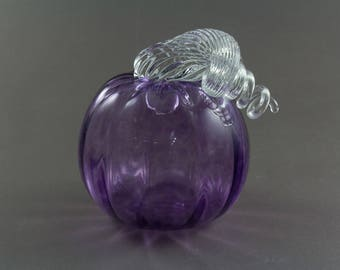 Transparent Purple Blown Glass Pumpkin