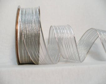 "Metallic silver wired ribbon, metallic stripes silver with copper wired 1"" x  25 yards"