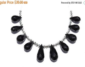 On Sale 10 Pcs Very Beautiful Natural Black Onyx Faceted Drops Beads Size 20X9 - 14X7 MM