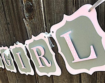 Pink and Gray Baby Banner, Polka Dot Pink, Baby Shower Banner, Baby Shower Decorations, Pink and Gray Its A Girl banner, Its A Girl