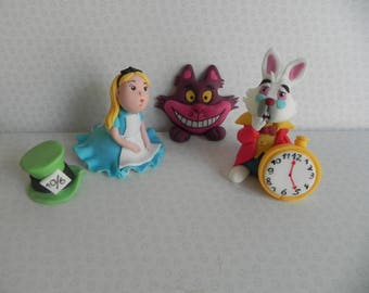 Alice in wonderland  edible cake topper set