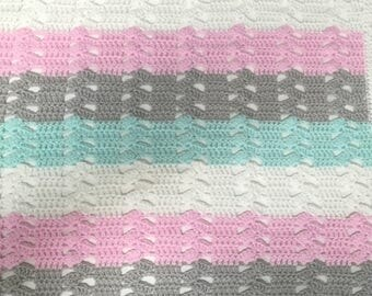 Baby girl crochet mint pink taupe and white baby blanket