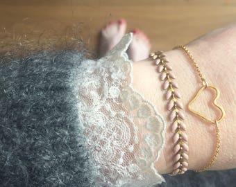 "Bracelet ""Madeleine"" gold plated, pale pink ears"
