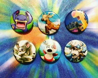 Choose Your Buttons - Set Of Six Normal Type Pokemon Buttons!