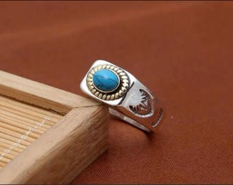 925 Native American eagle Turquoise Biker Ring
