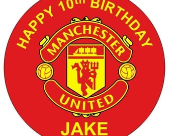 Manchester United  personalised cake top icing sheet 15cm 18cm or 20cm