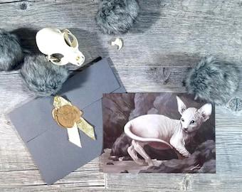 Sphinx Cat - Art Print - Fantasy Illustration - Animal Wildlife Painting - Hairless White - Imaginative Realism - Home Wall Decoration