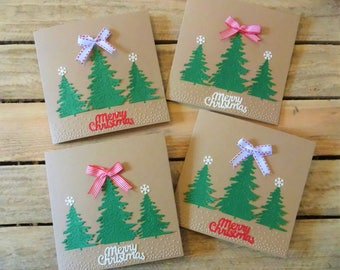 handmade pack of 4 Christmas trees cards set, Xmas cards pack, Holiday cards set, Christmas cards pack,Xmas cards set, Christmas card pack