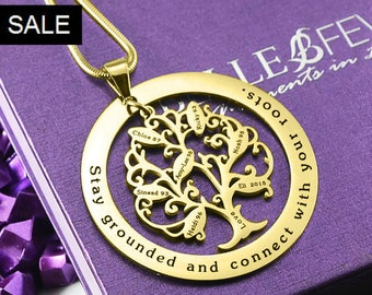 Family Tree Necklace, Gold Family Tree Necklace, Gold Tree, Personalized Tree of My Life Washer 7 Necklace Gold ONLY 103.20