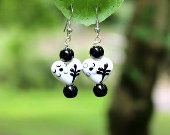 Handmade Black and White Heart Shaped Dangle Earrings