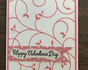 Handmade valentine's day card with pink floral die cut and pearls