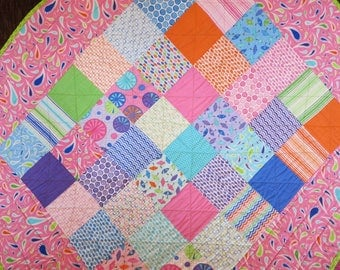 Patchwork quilt paisley Baby girl quilt blanket modern Girl crib quilt Handmade Baby Quilt Crib Quilt Toddler Quilt bright colors reversible
