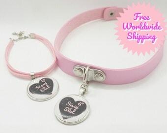 ADULT/MATURE Custom BDSM Pretty baby pink heart Sissy Slut Slave heart choker collar necklace and bracelet bondage gift set