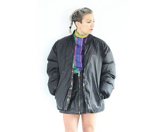 Vintage 1990s Schott black and camo oversized reversible puffa jacket