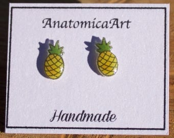 Pineapple stud earrings, tiny and handmade on surgical steel posts