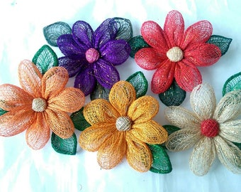 Handmade Abaca Sunflower Artificial Flower Brooch Corsage - Various Colours (505379)