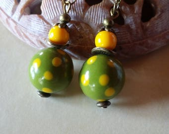 Khaki green and yellow polymer clay earrings