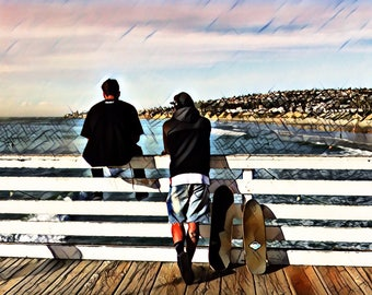 Skateboard ~ Pier ~ Friends ~ Ocean Life ~ Nature ~ Beach Life ~ So Cal ~ Photography ~ Wall Art ~ Digital Print ~ Home Decor ~ Outdoors ~