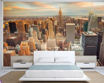 New York wallpaper, wallpaper city, Manhattan wall mural, self-adhesive vinly, New York wall mural, New York wall decal, city wall mural