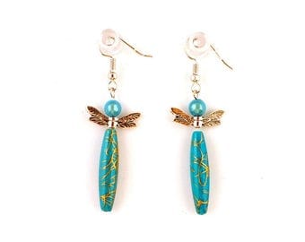 Earrings fantasies - charms - Asian Dragonfly (blue)