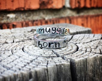 Harry Potter Theme Wrap Ring Hand Stamped Muggle Born