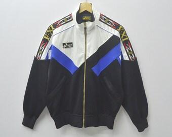 Asics Jacket Vintage 90's Asics Track Top Colorblock Asics Taped Zipper Sweater Activewear Size Jaspo L