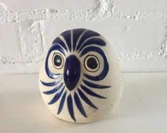 Vintage Ceramic Owl - Blue Floral